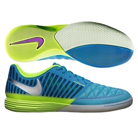 watch d7953 a3f24 Nike5 Lunar Gato II Indoor Soccer Shoes (Current Blue Hot Lime Metallic  Silver