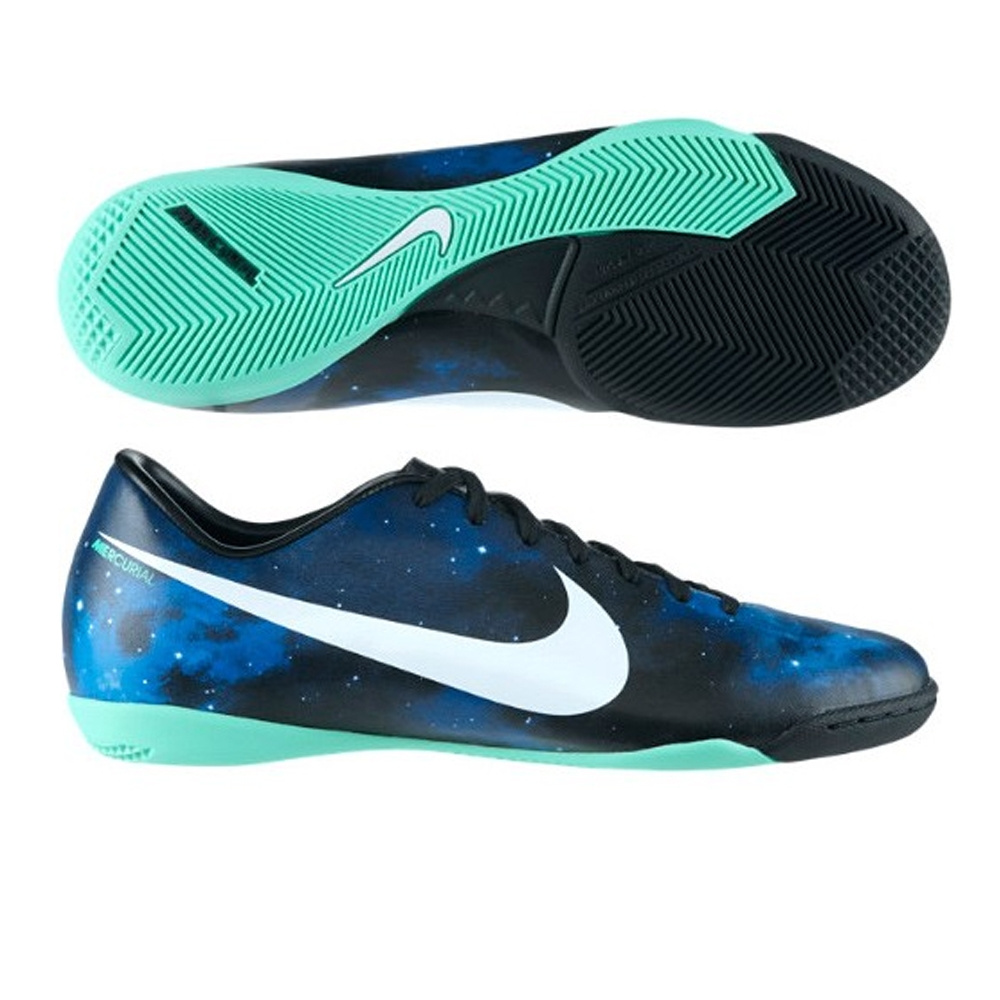 Nike CR Mercurial Victory IV IC Indoor Soccer Shoes (Dark Obsidian/Green  Glow/Black/Metallic Platinum)