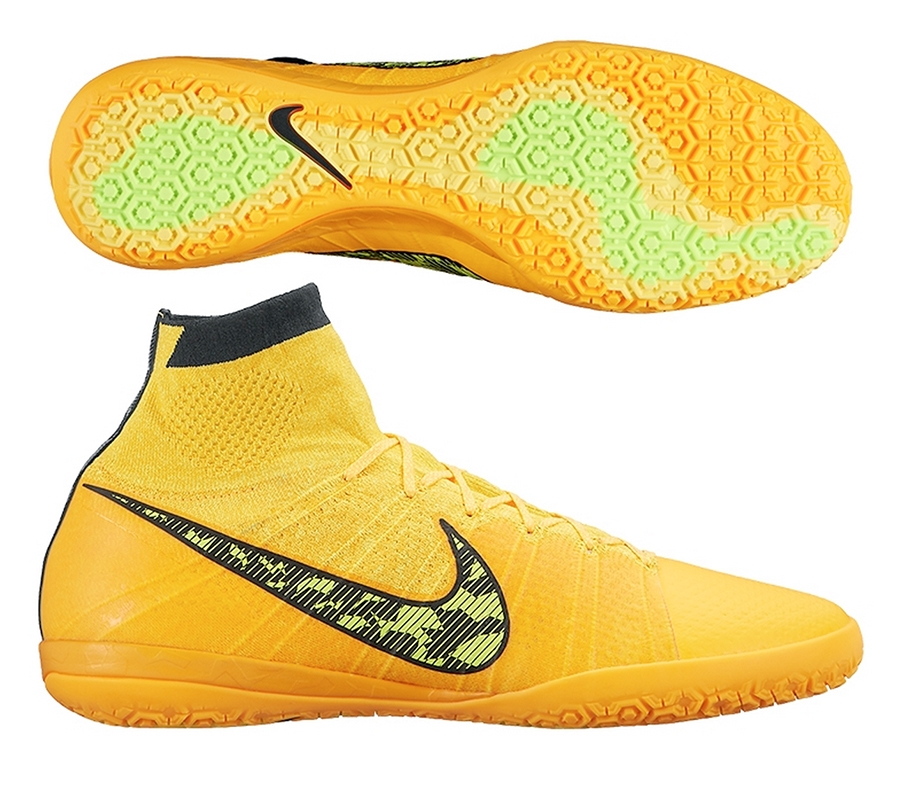 Nike Elastico Superfly IC Indoor Soccer Shoes (Laser Orange/Black/Tour  Yellow/