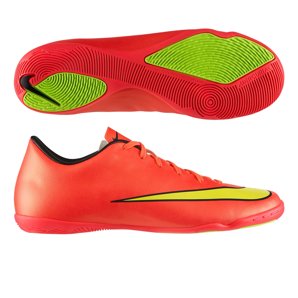 Nike Mercurial Victory V Indoor Soccer Shoes (Hyper Punch Metallic Gold  Coin Black 49c83fc4bc