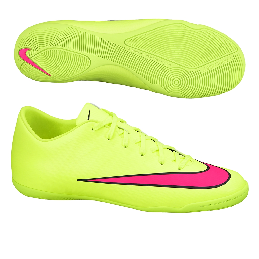 Nike Mercurial Victory V IC Indoor Soccer Shoes (Volt Black Hyper Pink) 46d31e12569a