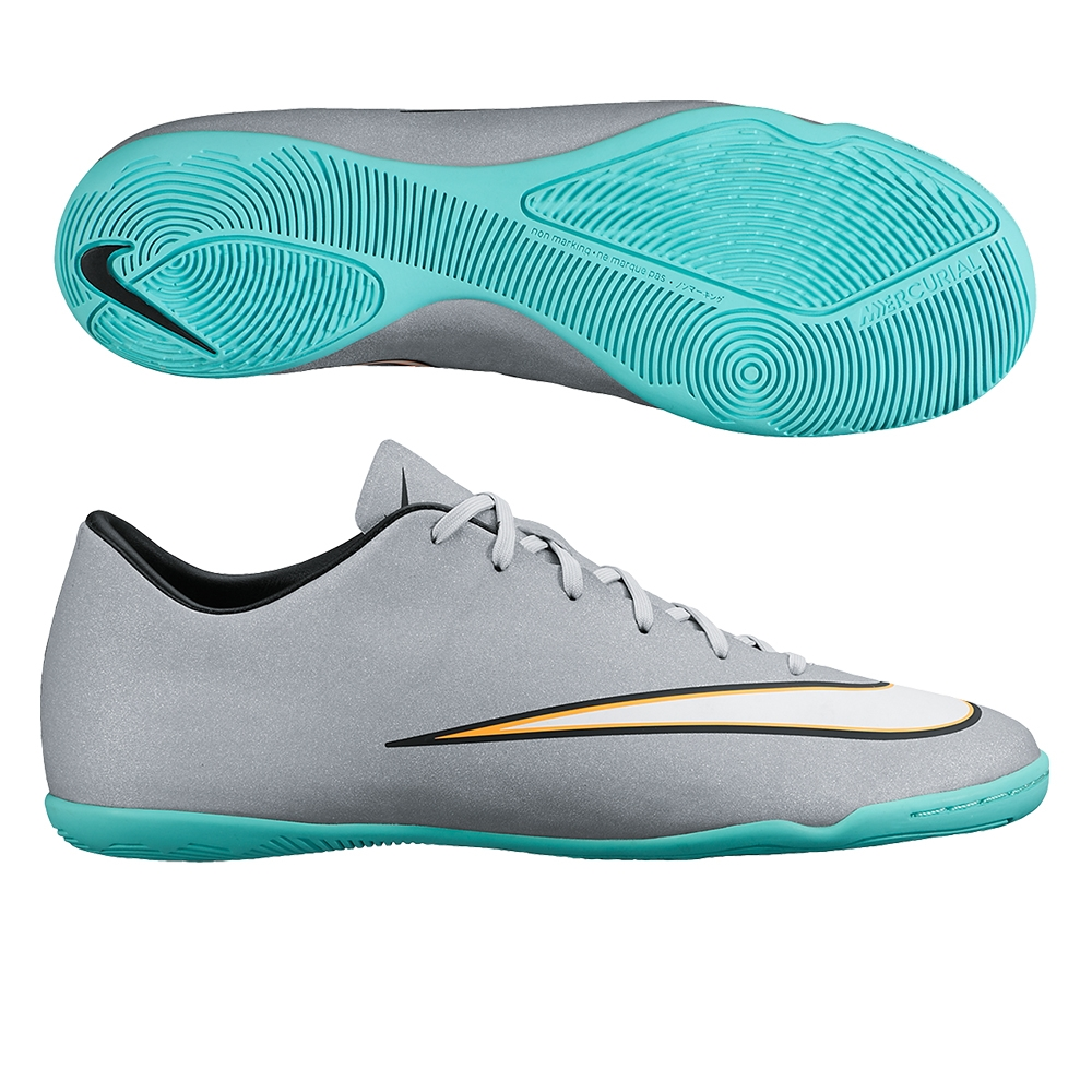 Nike Mercurial Victory V CR7 Indoor Soccer Shoes (Metallic Silver/Hyper  Turquoise/Black