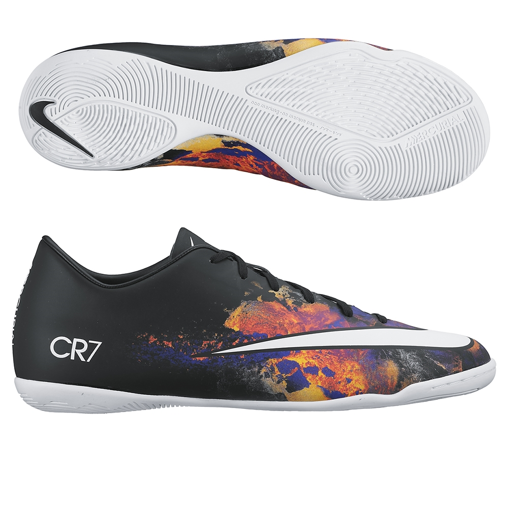 Nike Mercurial Victory V CR7 Indoor Soccer Shoes (Black/Total Crimson/White)