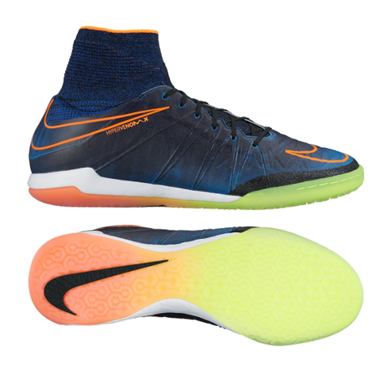 Nike HypervenomX Proximo Street IC Indoor Soccer Shoes (Black/Total  Orange/Racer Blue