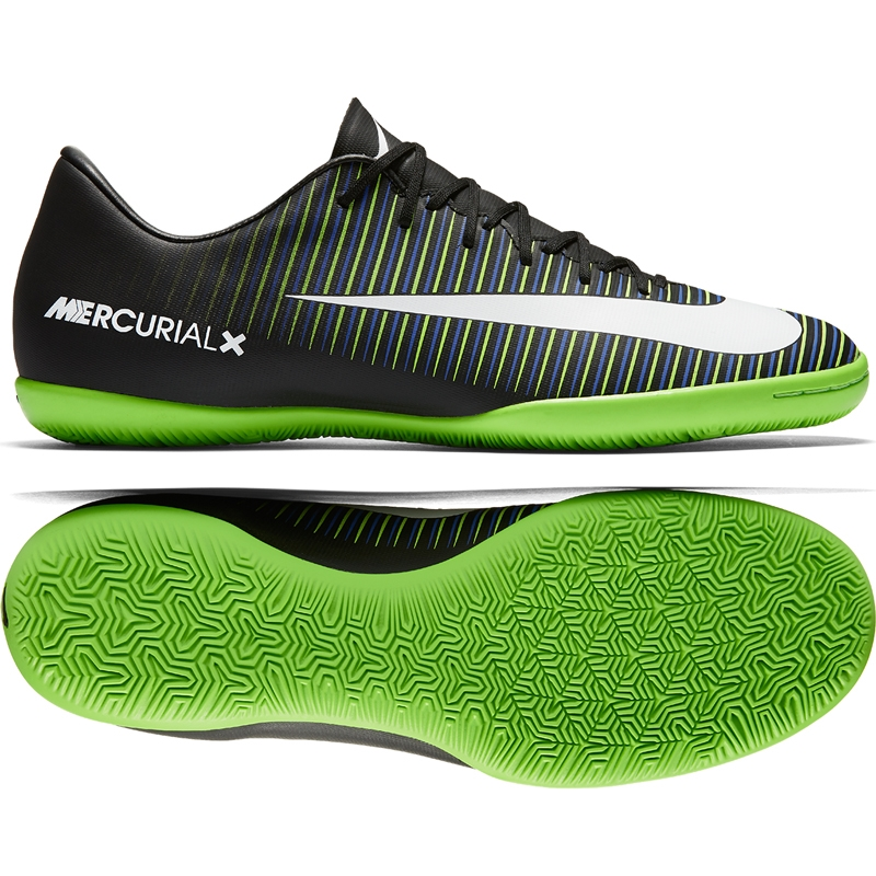release date: hot new products discount sale Nike Mercurial Victory VI IC Indoor Soccer Shoes (Black/White/Electric  Green)