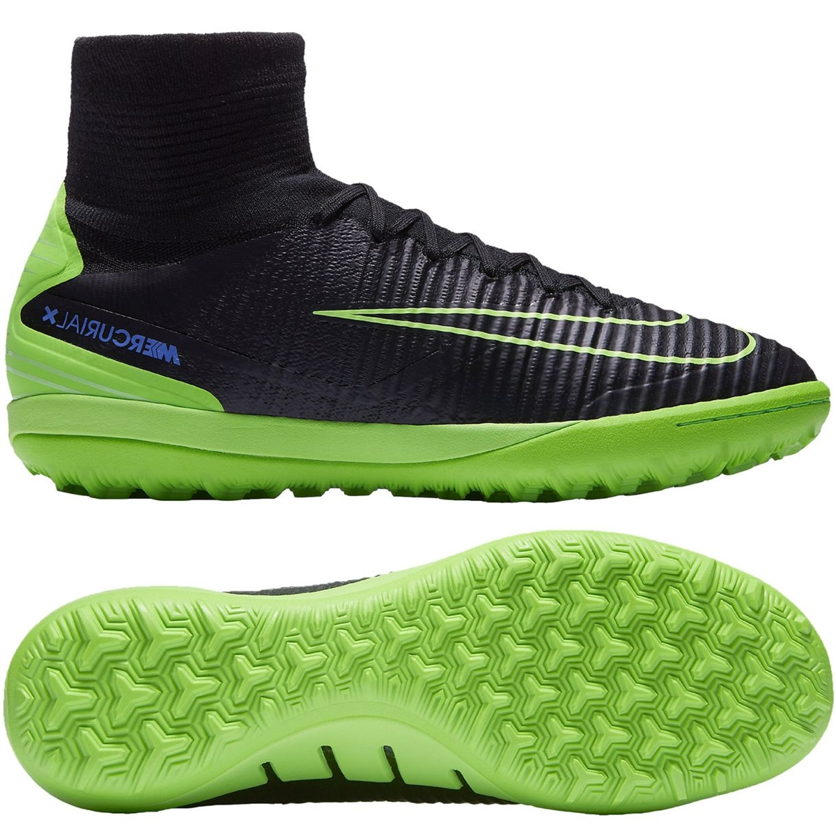 Nike MercurialX Proximo II TF Turf Soccer Shoes (Black/Electric Green/Paramount  Blue