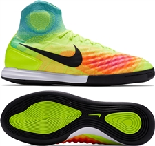 Nike MagistaX Proximo II IC Indoor Soccer Shoes (Volt/Black/Hyper Turquoise/Total Orange)