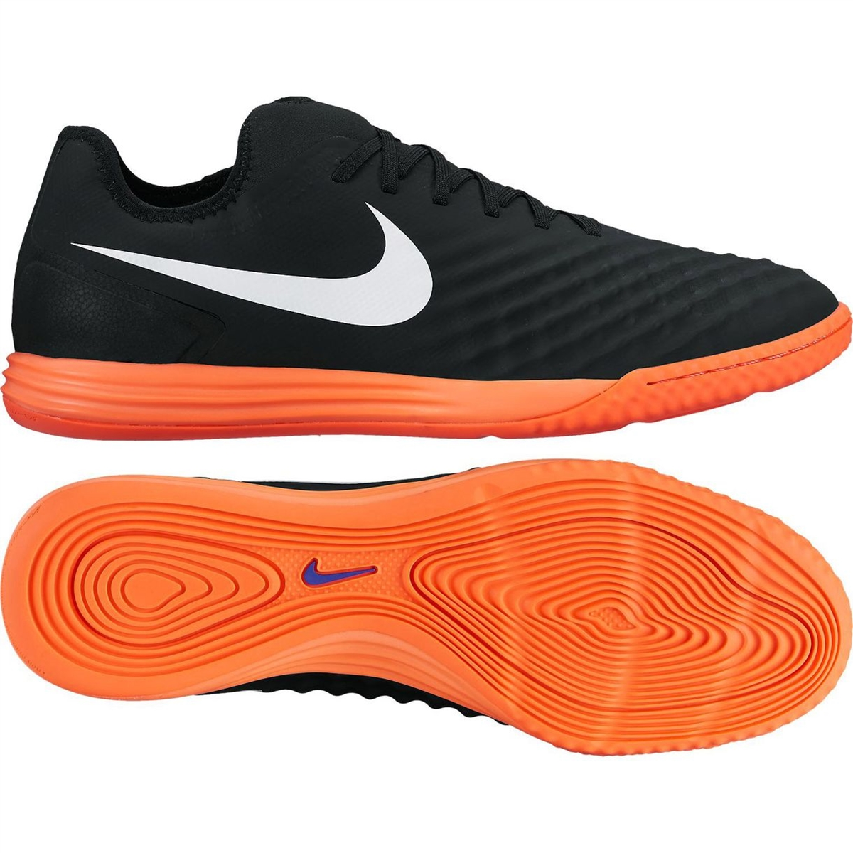 f31fdf758807 Nike MagistaX Finale II IC Indoor Soccer Shoes (Black White Hyper Orange Paramount  Blue)