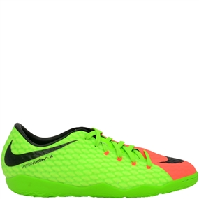 Nike HypervenomX Phelon III IC Indoor Soccer Shoes (Electric Green/Black/Hyper Orange/Volt)