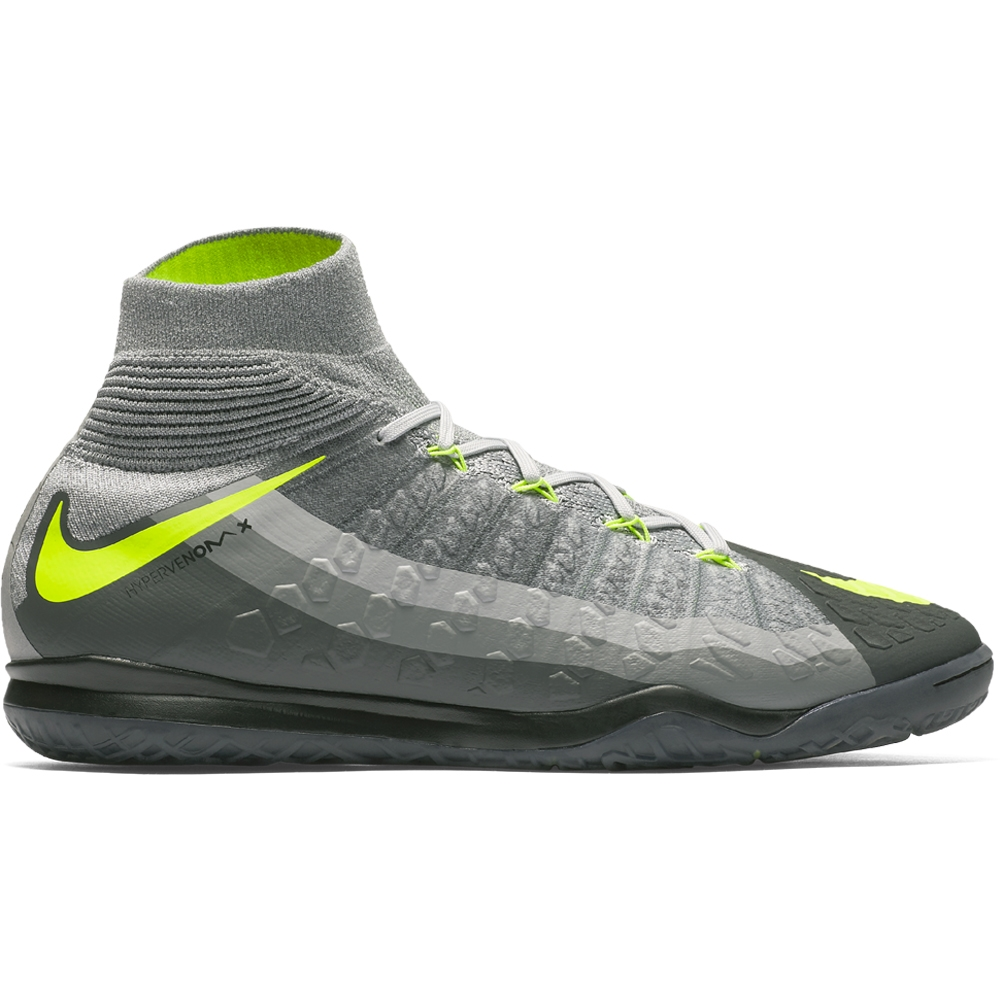 Nike HypervenomX Proximo II DF IC Indoor Soccer Shoes (Black/Volt/Dark Grey