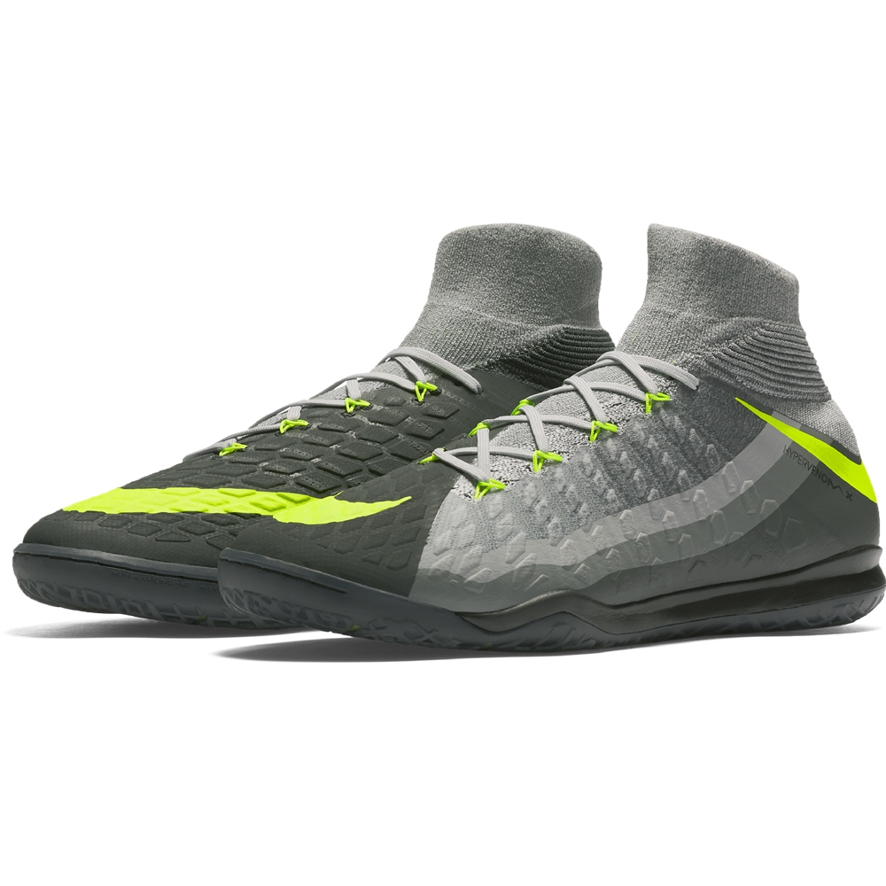 the latest 8024d 5a9f6 Nike HypervenomX Proximo II DF IC Indoor Soccer Shoes (Black Volt Dark Grey Wolf  ...