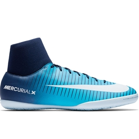 Nike MercurialX Victory VI DF IC Indoor Soccer Shoes (Obsidian/White/Gamma Blue)