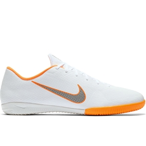 Nike VaporX XII Academy IC Indoor Soccer Shoes (White/Metallic Cool Grey/Total Orange)