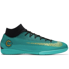 Nike SuperflyX VI Academy CR7 IC Indoor Soccer Shoes (Clear Jade/Metallic Vivid Gold/Black)