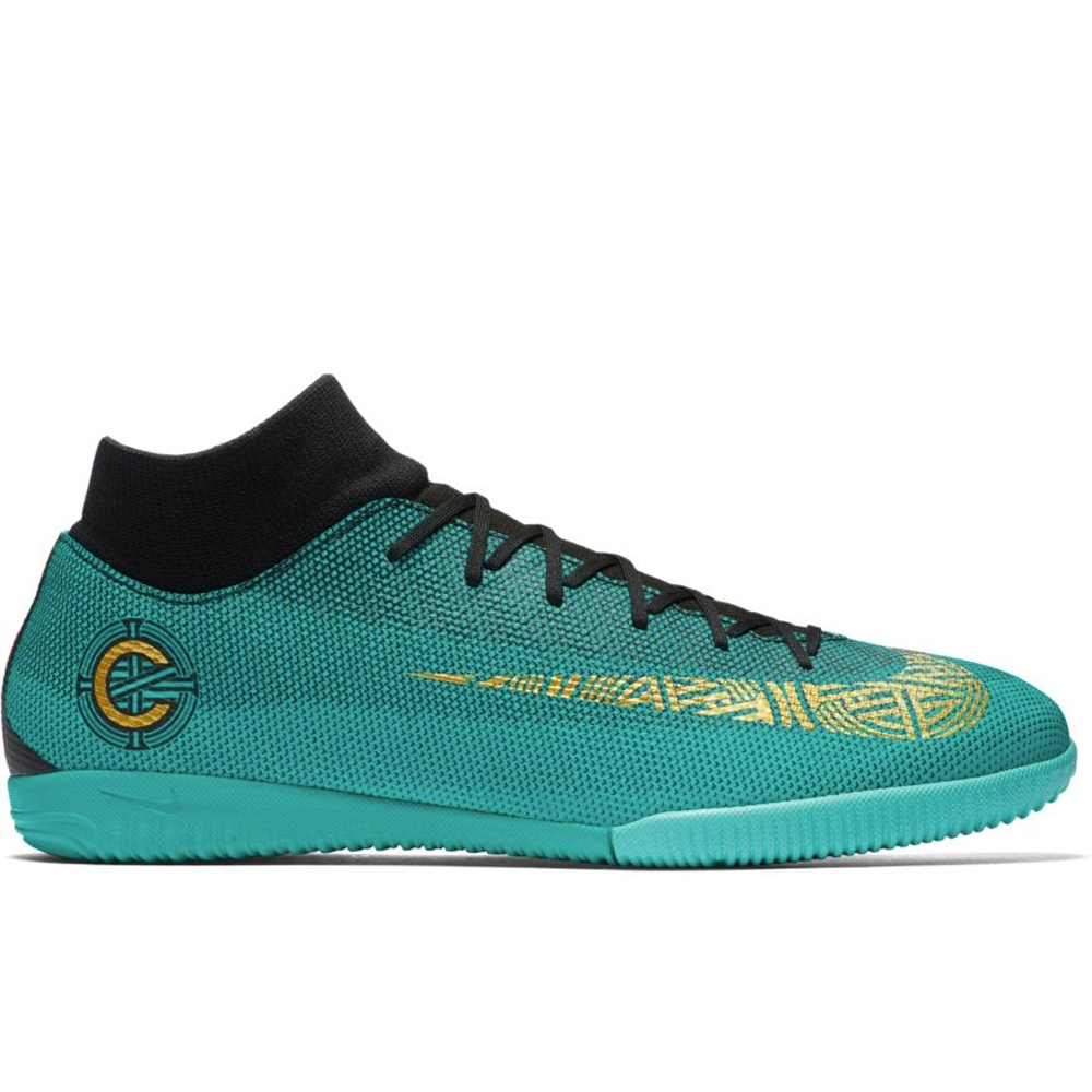 new arrivals fbb49 637e9 Nike SuperflyX VI Academy CR7 IC Indoor Soccer Shoes (Clear Jade/Metallic  Vivid Gold/Black)