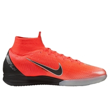 Nike SuperflyX VI Elite CR7 IC Indoor Soccer Shoes (Flash Crimson/Black/Chrome/Dark Grey)