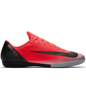 Nike VaporX 12 Academy CR7 IC Indoor Soccer Shoes (Bright Crimson/Black/Chrome/Dark Grey)
