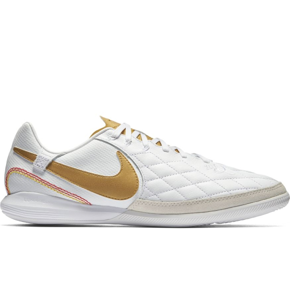 Nike Lunar LegendX VII Pro 10R IC Indoor Soccer Shoes (White/Metallic Gold)