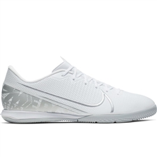 Nike Vapor 13 Academy IC Indoor Soccer Shoes (White/Chrome/Metallic Silver)