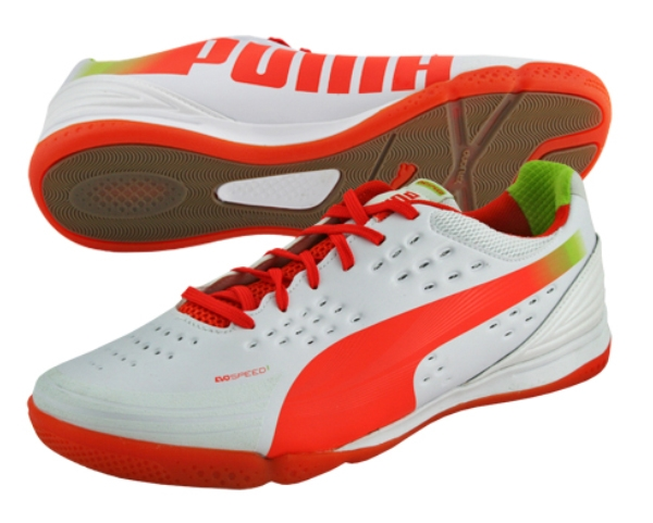Puma EvoSpeed 1.2 Sala Indoor Soccer Shoes (White/Cherry Tomato/Lime)