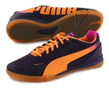 Puma EvoSpeed 1.2 Sala Indoor Soccer Shoes (Blackberry/Orange/Pink)