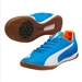 Puma EvoSpeed 4.4 IT Indoor Soccer Shoes (Electric Blue Lemonade/White/Orange Clown Fish)