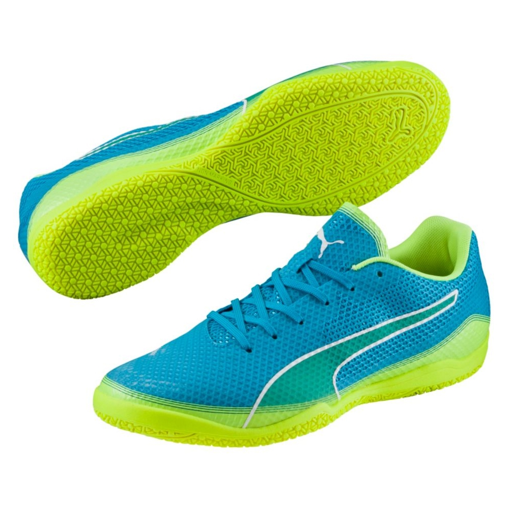 puma indoor soccer shoes for men. puma invicto fresh indoor soccer shoes (atomic blue/safety yellow/white) for men a