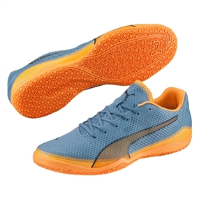 Puma Invicto Fresh Indoor Soccer Shoes (Blue Heaven/Orange Pop/Blue Wing Teal)