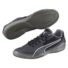 Puma Invicto Fresh Indoor Soccer Shoes (Black/White/Steel Gray)