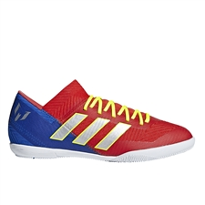 Adidas Nemeziz Messi Tango 18.3 Youth Indoor Soccer Shoes (Active Red/Silver Metallic/Football Blue) | Adidas Indoor Shoes