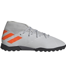 Adidas Youth Nemeziz 19.3 TF Turf Soccer Shoes (Grey Two/Solar Orange/Chalk White)