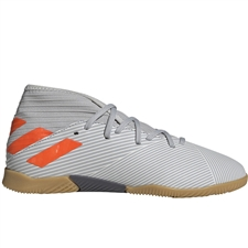 Adidas Youth Nemeziz 19.3 Indoor Soccer Shoes (Grey Two/Solar Orange/Chalk White) | Adidas Indoor Shoes