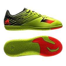 Adidas Messi 15.3 Youth Indoor Soccer Shoes (Semi Solar Slime/Solar Red/Black)