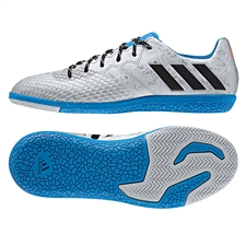 Adidas Messi 16.3 Youth Indoor Soccer Shoes (Silver Metallic/Core Black/Shock Blue)