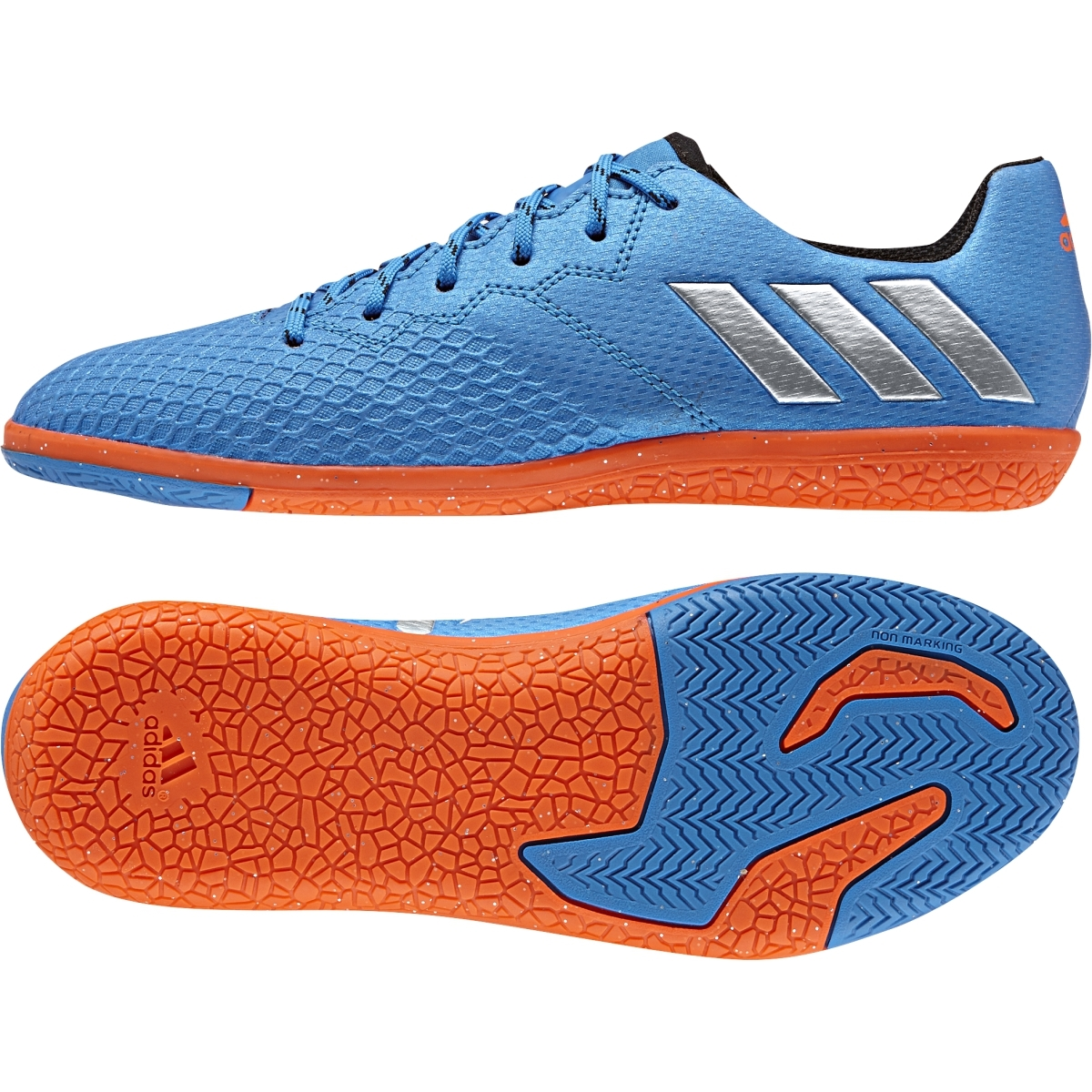 16ea327d80bb Adidas Messi 16.3 Kids Indoor Shoe in Blue and Silver - S79640 ...