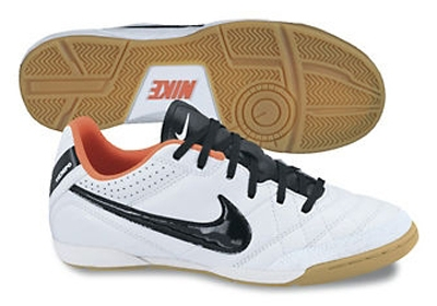 Nike Tiempo Natural IV (Leather) Youth Indoor Soccer Shoes (White/Total  Crimson