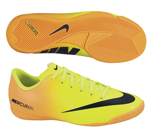 Nike Youth Mercurial Victory IV Indoor Soccer Shoes (Volt/Bright Citrus/ Black)