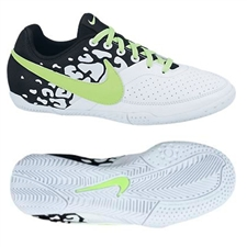 Nike FC247 Elastico II Youth Indoor Soccer Shoes (White/Black/Flash Lime)