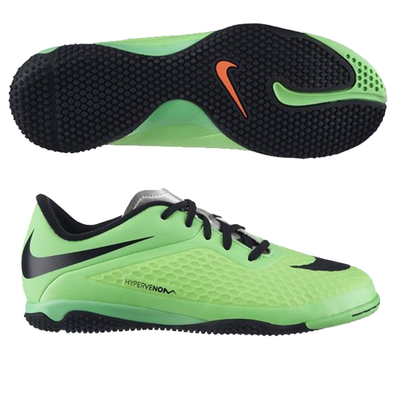 Nike Youth Hypervenom Phelon Indoor Soccer Shoes (Neo Lime/Poison Green/Metallic  Silver