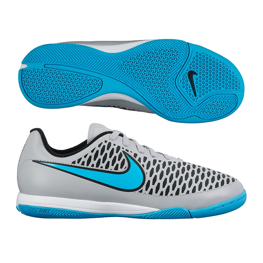 Nike Youth Magista Onda IC Indoor Soccer Shoes (Wolf Grey/Black/Turquoise  Blue