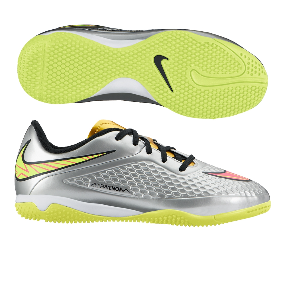 9c86e9a5dc6 Nike Youth Hypervenom Phelon Premium Indoor Soccer Shoes (Chrome ...