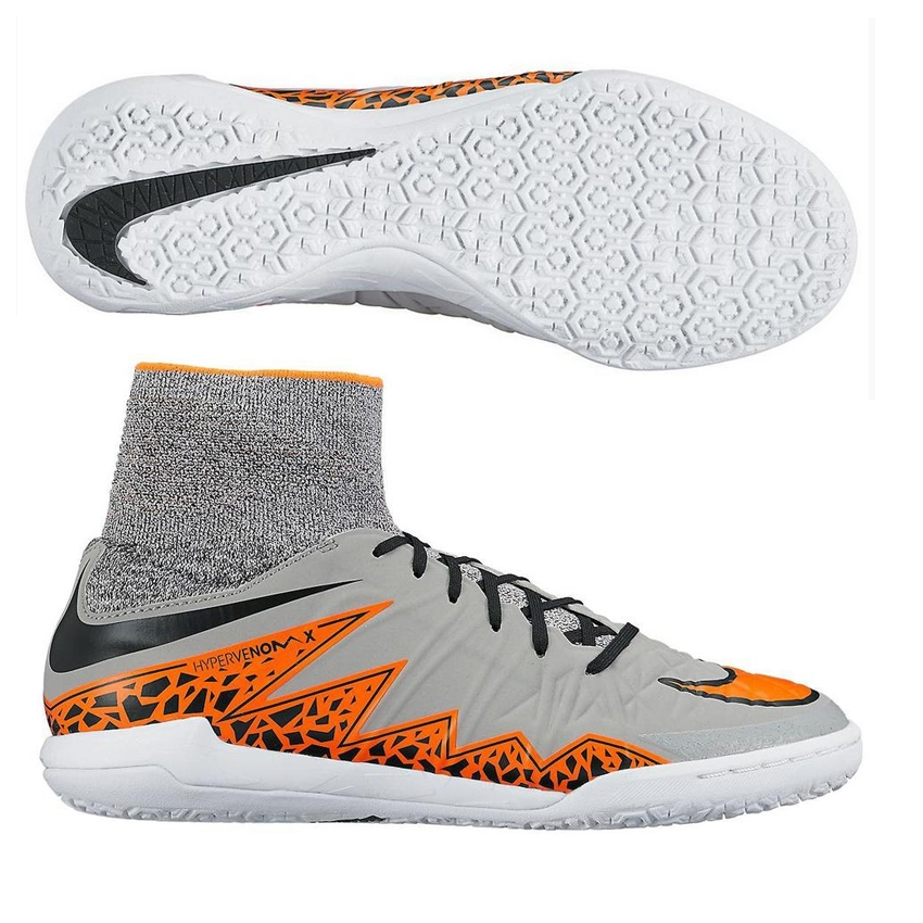 Nike Youth HypervenomX Proximo Indoor Soccer Shoes (Wolf Grey/Total Orange)
