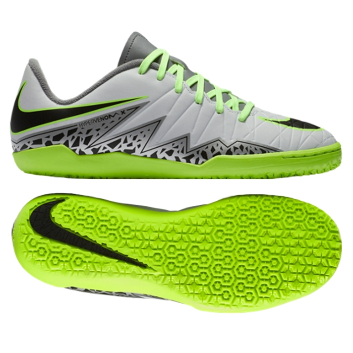 25bda8f985f Nike Hypervenom Phelon II Youth Indoor Soccer Shoes (Pure Platinum Black Ghost  Green)