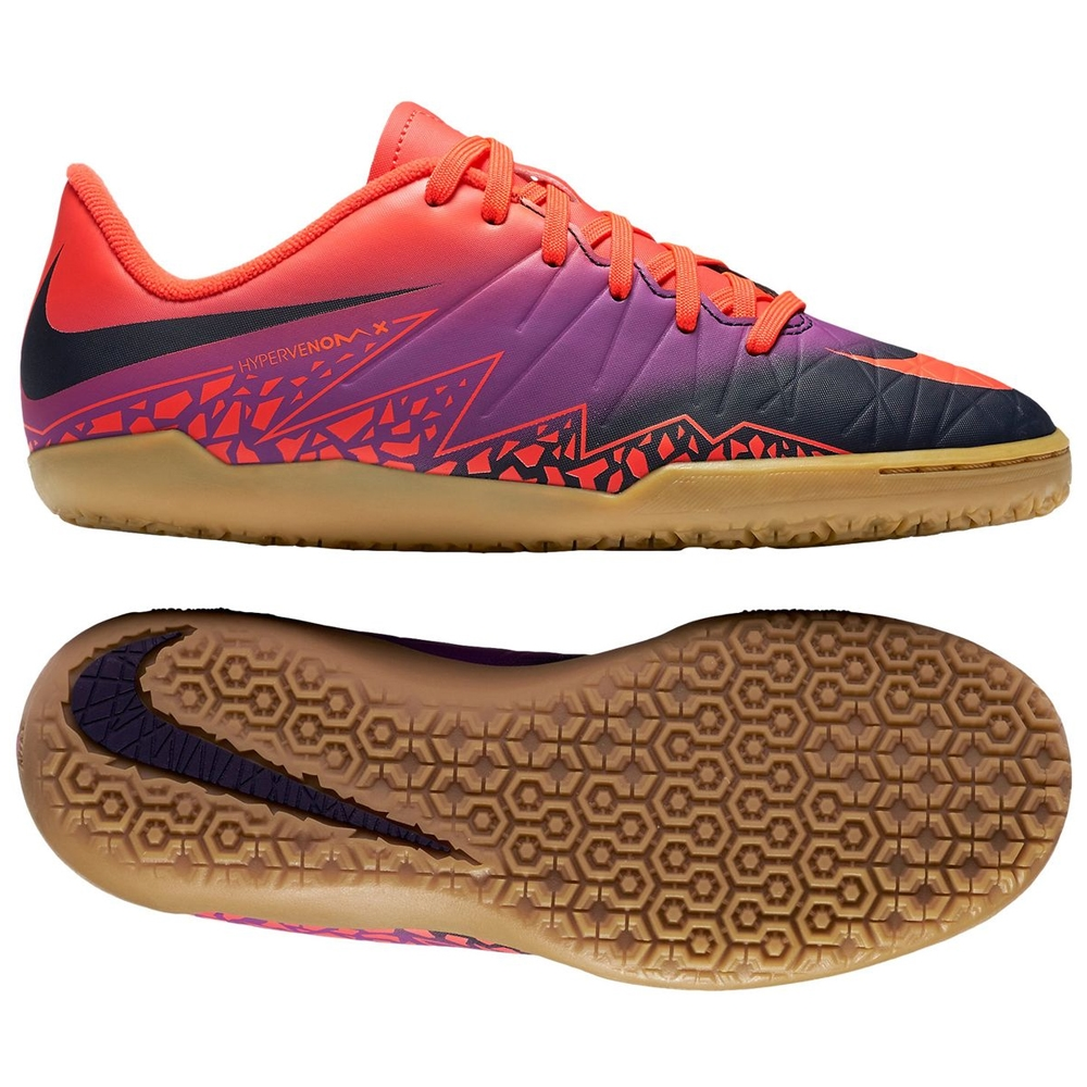 cc260457e99 Nike Youth Hypervenom Phelon II Indoor Soccer Shoes (Total  Crimson Obsidian Vivid Purple)