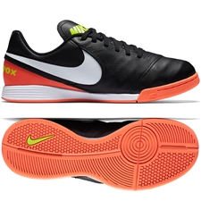 Nike Youth TiempoX Legend VI IC Indoor Soccer Shoes (Black/White/Hyper Orange/Volt)