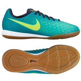 Nike Youth Magista Opus II IC Indoor Soccer Shoes (Rio Teal/Volt/Obsidian/Clear Jade)