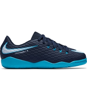 Nike Youth HypervenomX Phelon III IC Indoor Soccer Shoes (Obsidian/White/Gamma Blue/Glacier Blue)