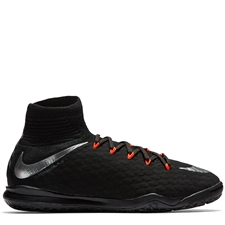 Nike Youth HypervenomX Proximo II DF IC Indoor Soccer Shoes (Black/Metallic Silver/Anthracite)