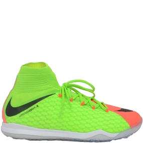 Nike Youth HypervenomX Proximo II DF IC Indoor Soccer Shoes (Electric Green/Black/Hyper Orange/Volt)