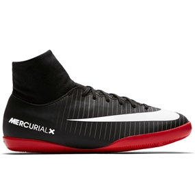 Nike Youth Mercurial Victory VI DF IC Indoor Soccer Shoes (Black/White/Dark Grey/University Red)